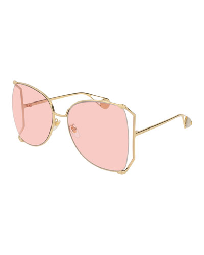 Oversized Metal Butterfly Sunglasses, Gold/Pink