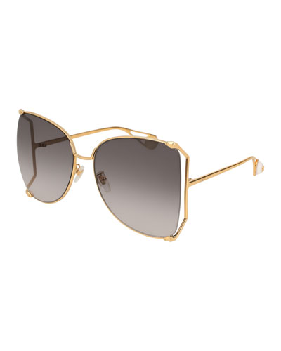 Oversized Metal Butterfly Sunglasses, Gold/Gray
