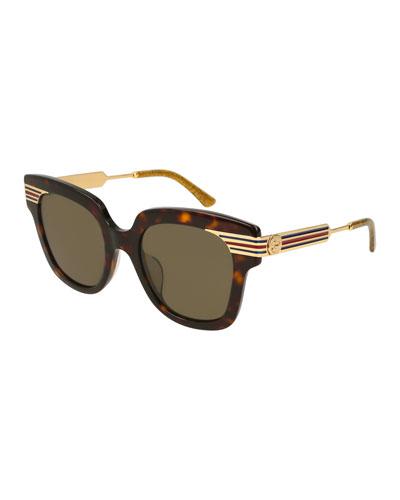 Metal & Acetate Square Sylvie Web Sunglasses, Brown Pattern