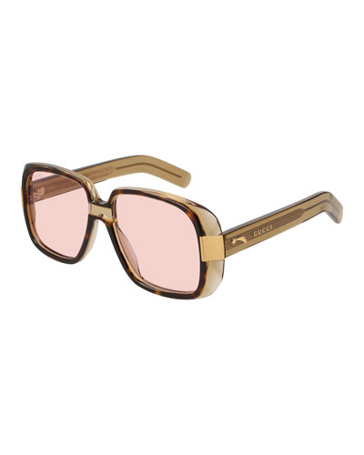 Oversized Square Acetate Sunglasses, Brown Pattern/Pink