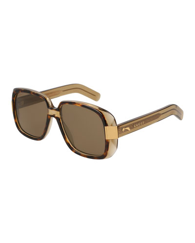 Oversized Square Acetate Sunglasses, Brown Pattern