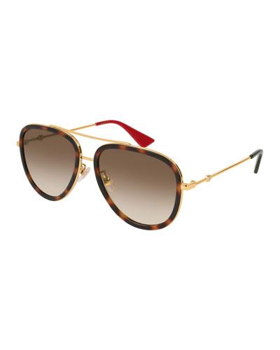 Metal Gradient Round Sunglasses, Gold/Brown