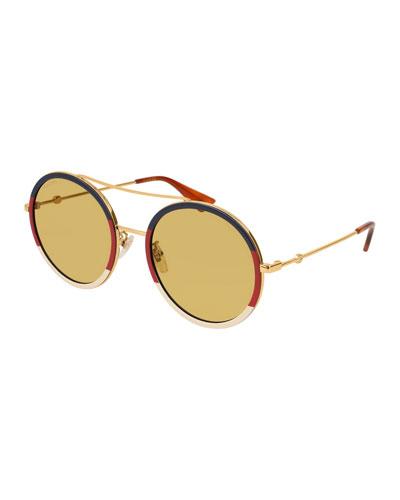 Round Sylvie Web Sunglasses, Gold