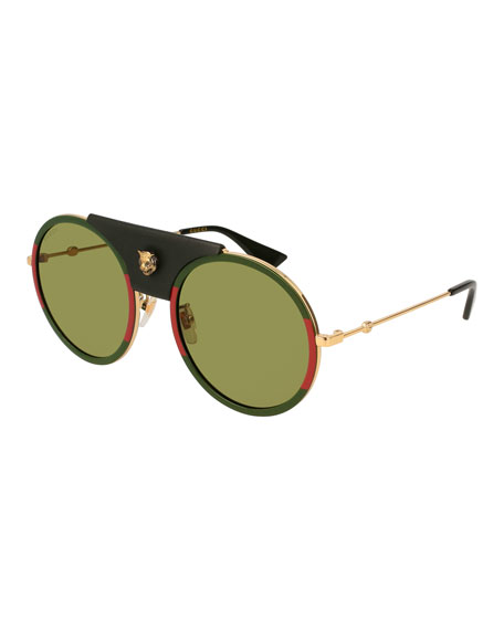 Gucci Round Web Sunglasses w/ Leather Trim, Gold/Green/Red