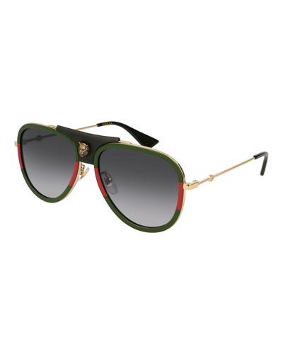 Gradient Web Aviator Sunglasses w/ Leather Trim, Gold/Green/Red