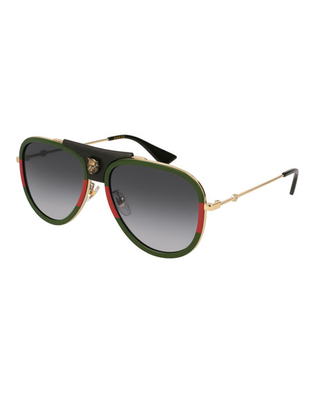 Gucci Gradient Web Aviator Sunglasses w/ Leather Trim,