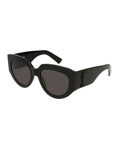Cat-Eye Acetate Sunglasses w/ YSL Pin, Black