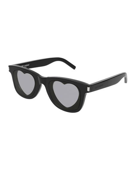 Square Acetate Heart-Lens Sunglasses, Black