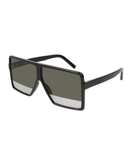 SL 183 Betty 63mm Acetate Two-Tone Shield Sunglasses, Black