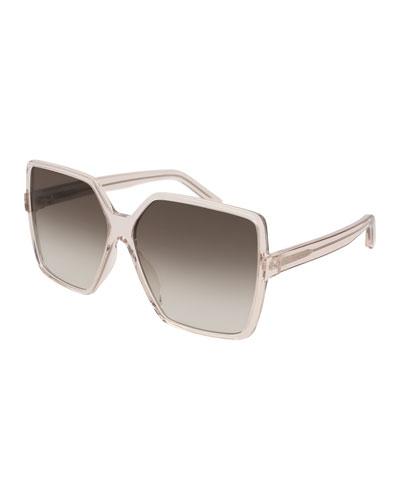 SL 232 Betty Oversized Square Transparent Acetate Sunglasses  Nude