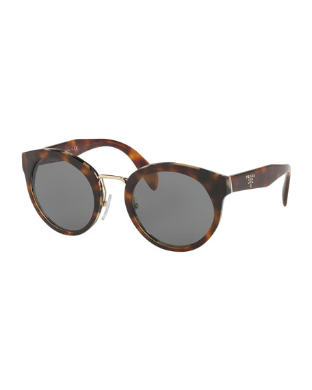 Round Acetate Sunglasses w/ Metal Trim