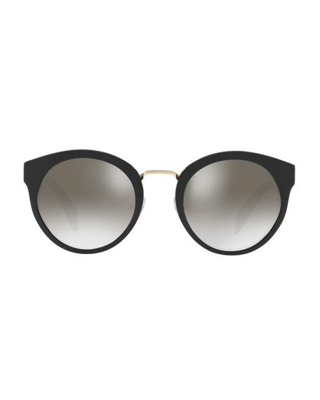 Round Acetate Mirrored Sunglasses w/ Metal Trim