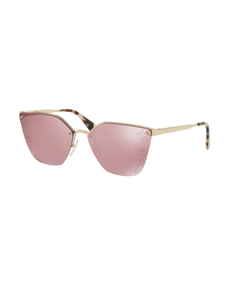 Squared Cat-Eye Sunglasses w/ Floral Lenses