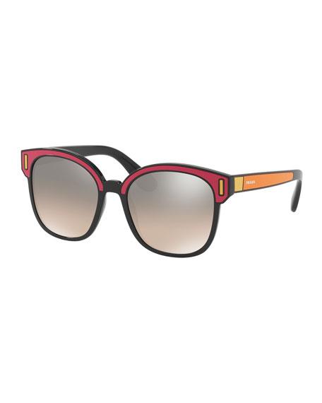 Square Colorblock Mirrored Sunglasses