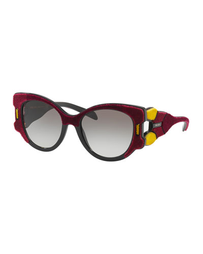 Butterfly Gradient Sunglasses w/ Velvet Detail, Red