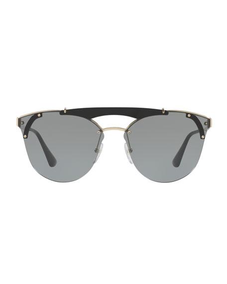 Round Metal Sunglasses w/ Contrast Trim, Black/Gold