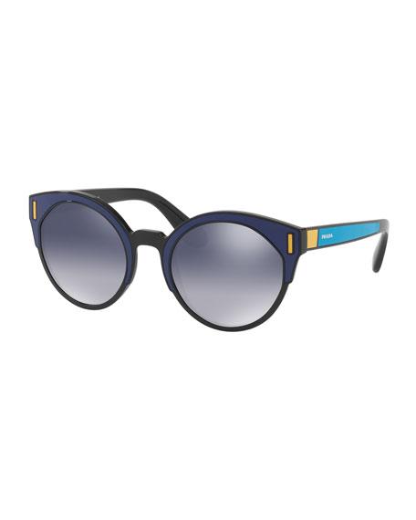 Round Colorblock Mirrored Sunglasses, Black/Blue