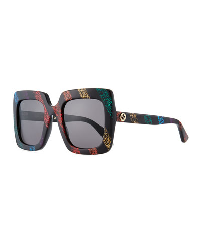 Glitter Striped Acetate Rectangle Sunglasses