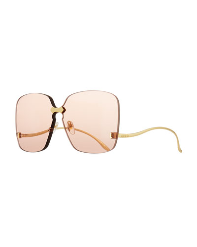Rimless Square Low-Temple Polarized Sunglasses