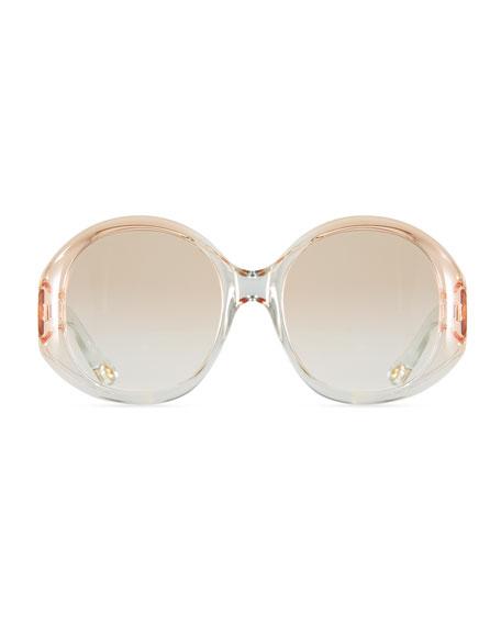 Qleo Semi-Transparent Oval Sunglasses