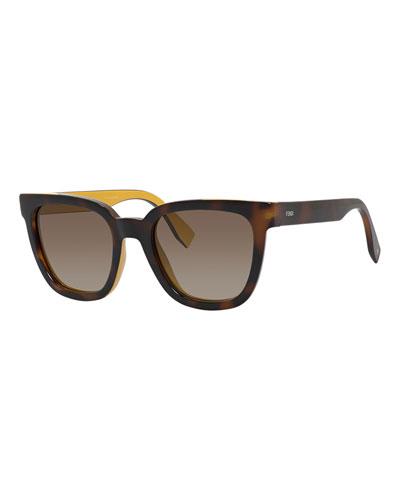Square Sunglasses w/ Contrast Inner