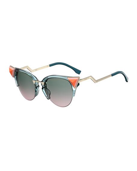 Fendi Semi-Rimless Cat-Eye Gradient Sunglasses w/ Pyramid Detail