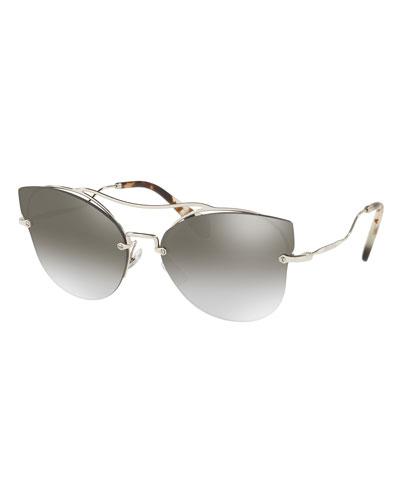 Scenique Rimless Monochromatic Brow-Bar Sunglasses, Smoke