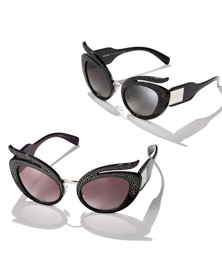 Glittered Mirrored Cat-Eye Sunglasses