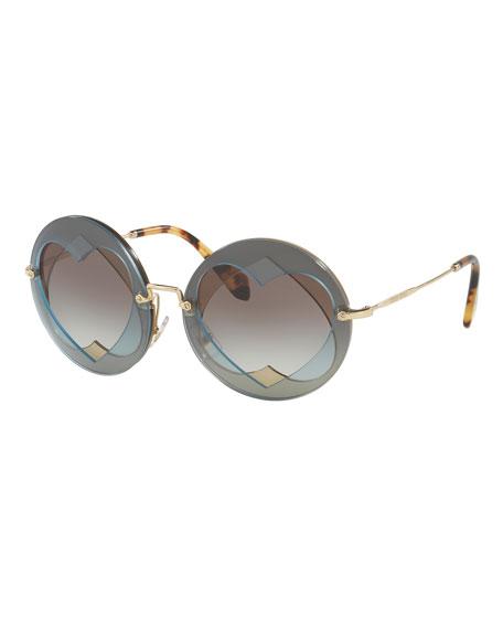 Round Layered Heart Sunglasses