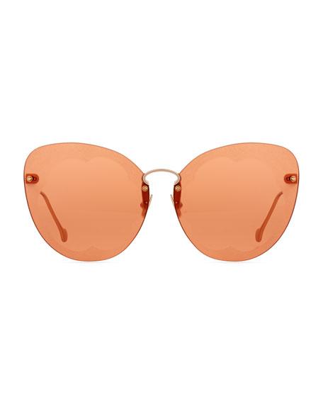 Fiore Rimless Cat-Eye Sunglasses