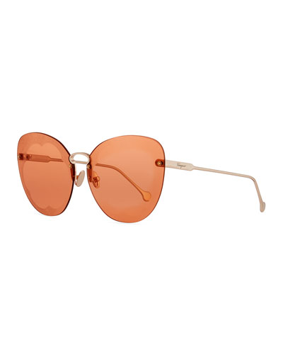 Fiore Rimless Cat-Eye Sunglasses