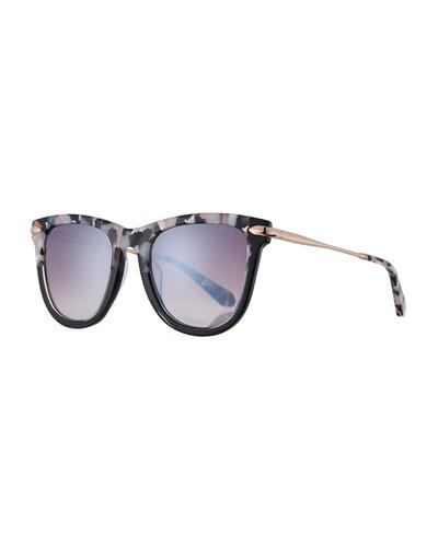 Simone Two-Tone Square Acetate Mirrored Sunglasses, Galactic