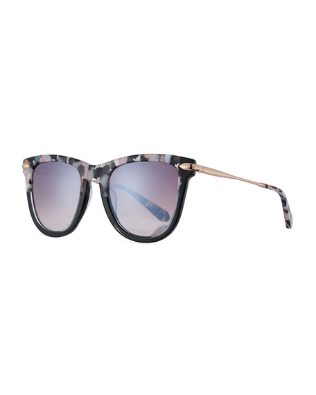 KREWE Simone Two-Tone Square Acetate Mirrored Sunglasses, Galactic