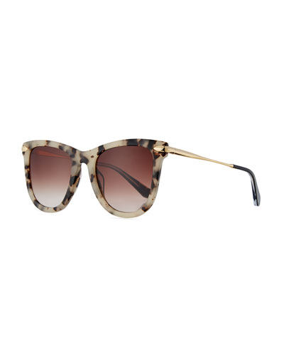 Simone Gradient Square Acetate Sunglasses, Oyster