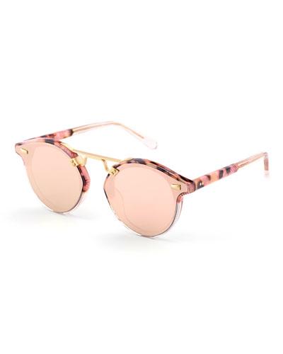 STL II Round Sunglasses w/ Nylon Overlay Lenses, Pink