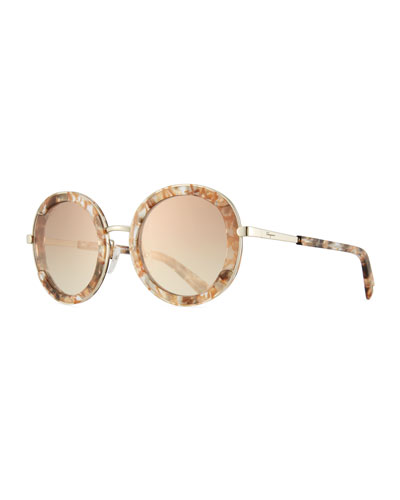 Angel Acetate & Metal Mirrored Round Sunglasses
