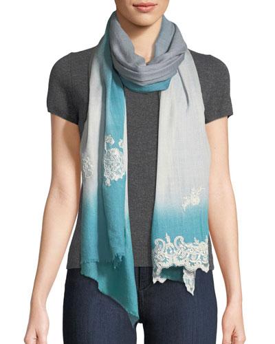 Ombré Lace-Trim Scarf, Blue