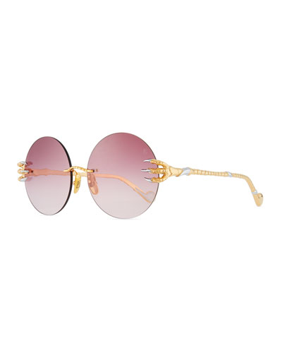 The Claw & The Nest Round Rimless Sunglasses