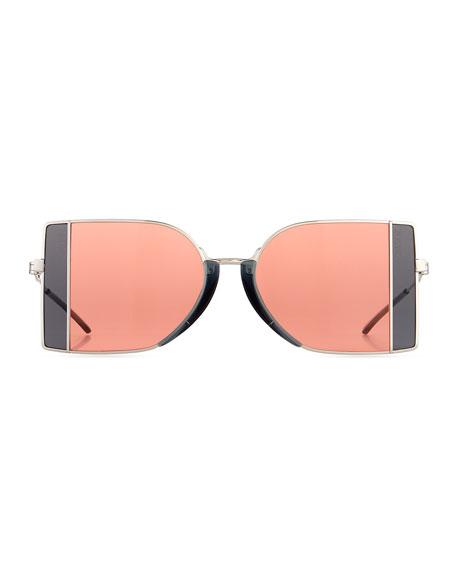 Rectangle Metal Sunglasses w/ Window Pane Contrast
