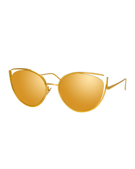 Linda Farrow Cat-Eye Open-Temple Mirrored Sunglasses, Yellow