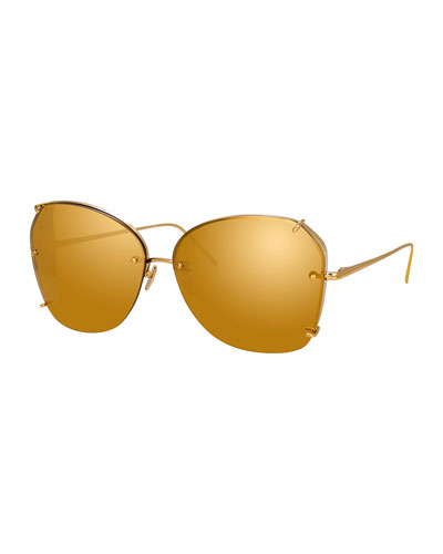Rimless Mirrored Butterfly Sunglasses w/ Side Blinders, Yellow Pattern