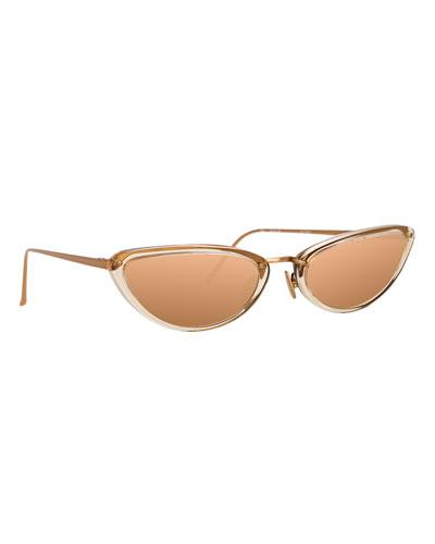 Slim Two-Tone Cat-Eye Mirrored Sunglasses, Dark Beige