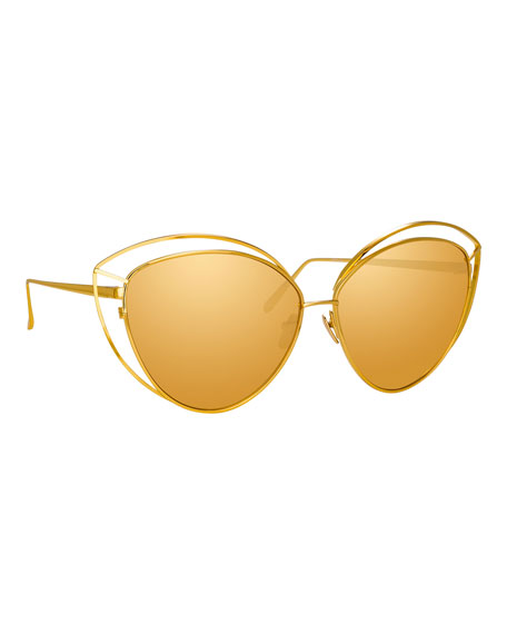e06190931ac2 Linda Farrow Open-Inset Cat-Eye Mirrored Sunglasses