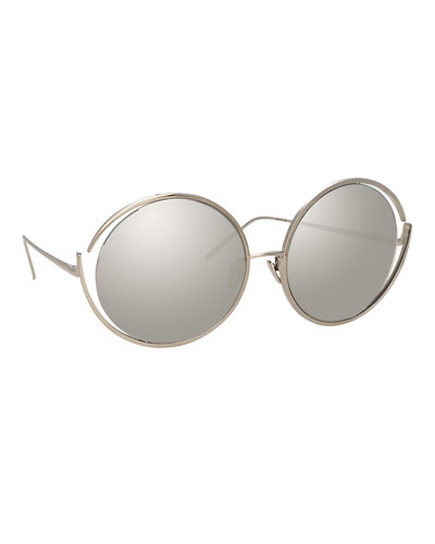 Round Open-Temple Mirrored Sunglasses, White Pattern