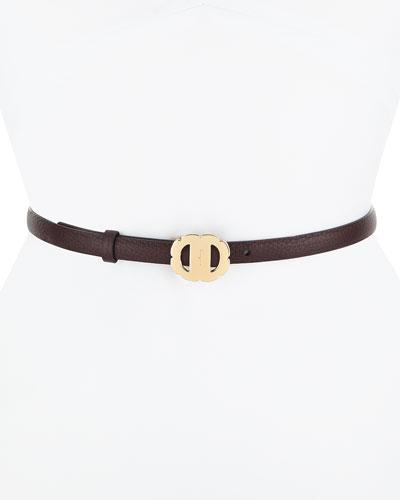 Vara Flower Buckle Reversible Pebbled Leather Belt
