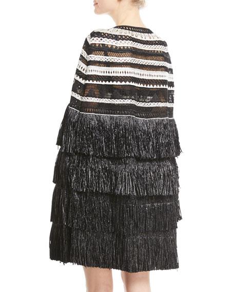 Crocheted Tier-Fringe Cape