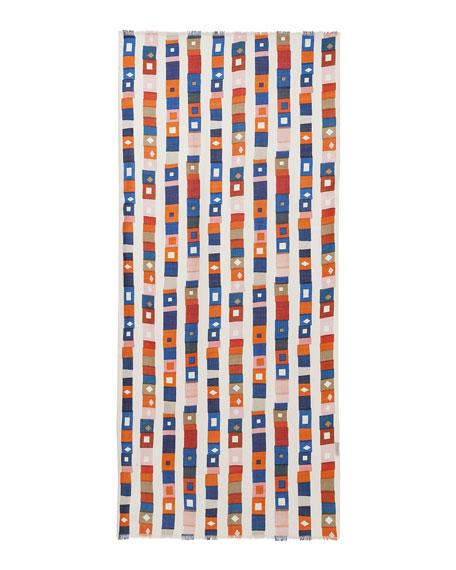 Superstripe-Print Cashmere/Silk Scarf