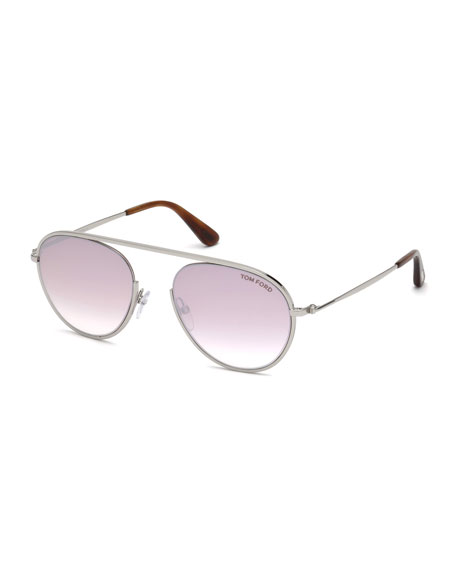 TOM FORD Keith Round Brow-Bar Metal Sunglasses, Brown/Silver