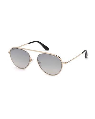 Keith Round Brow-Bar Metal Sunglasses, Smoke