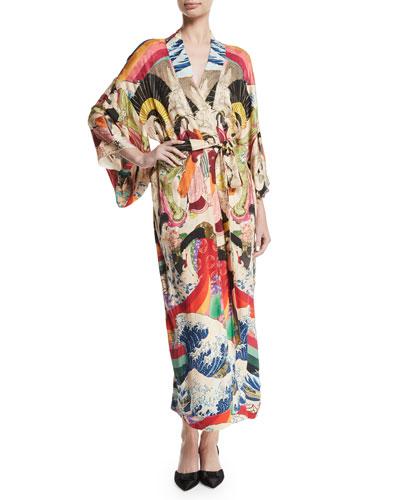 Trippin Long-Sleeve Belted Long Kimono